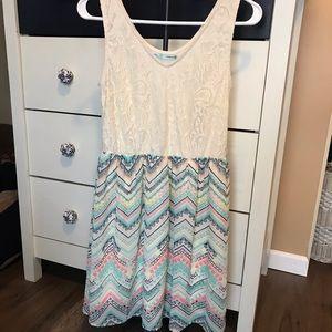 Maurices white lace tank style pastel minidress